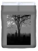 Midnight Graveyard Fog Duvet Cover