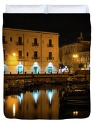 Midnight Silence And Solitude - Syracuse Sicily Illuminated Waterfront Duvet Cover
