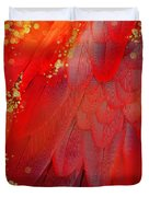 Midsummer Magik Fantasy Abstract Red Feathers, Gold Sparkles Duvet Cover