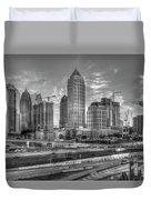 Midtown Atlanta Dusk B W Atlanta Construction Art Duvet Cover