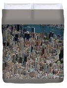 Midtown East Manhattan Skyline Aerial   Duvet Cover