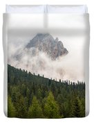 Mighty Dolomite Peaking Through The Clouds Duvet Cover