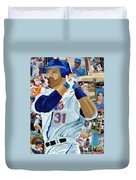 Mike Piazza Duvet Cover by Michael Lee