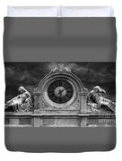 Milan Clock In Black And White Duvet Cover