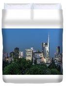 Milan Skyline By Night, Italy Duvet Cover