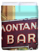 Miles City, Montana - Bar Neon Duvet Cover