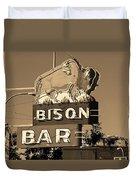 Miles City, Montana - Bison Bar Sepia Duvet Cover