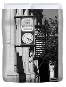 Miles City, Montana - Downtown Clock Bw Duvet Cover