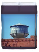 Miles City, Montana - Water Tower Duvet Cover