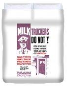 Vintage Milk Trucker Fda Warning  Duvet Cover