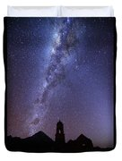 Milky Way Above Ruined Church Tower Duvet Cover