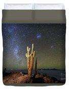 Milky Way Magellanic Clouds And Giant Cactus Incahuasi Island Bolivia Duvet Cover