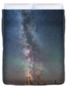 Milky Way Over An Old Ranch Corral Duvet Cover
