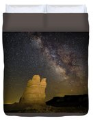 Milky Way Over Castle Rock Duvet Cover