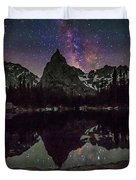 Milky Way Over Lone Eagle Peak And Mirror Lake Duvet Cover