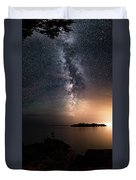 Milky Way Over Mary Island From Silver Harbour Near Thunder Bay Duvet Cover