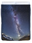 Milky Way Over The Columbia Icefields Duvet Cover