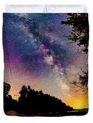 Milky Way Over The Saco River Maine  Duvet Cover
