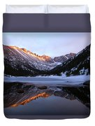 Spring Sunset At Mill's Lake In Rocky Mountain National Park, Colorado, Usa Duvet Cover