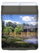 Milnes Bridge At Flood Duvet Cover