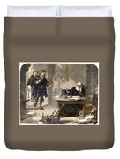 Milton And Galileo, 1638-39 Duvet Cover