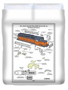 Milwaukee Road Sd-40 Pop-art Duvet Cover