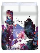 Milwaukee Watercolor Skyline Duvet Cover