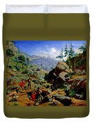 Miners In The Sierras Duvet Cover