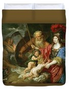 Minerva And Saturn Protecting Art And Science From Envy And Lies  Duvet Cover