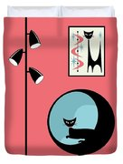Shower Curtain Mini Atomic Cat On Pink  Duvet Cover