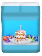 Mini Donut Cake With  Blue Candle By Sheila Fitzgerald Mini Donut Cake With Pink Candle Duvet Cover