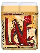 Mini Pop Art Gold Red Love Original Painting By Madart Duvet Cover