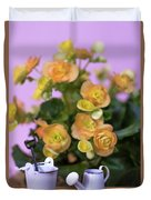 Miniature Gardening Kit With Orange Begonia Background Duvet Cover