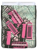 Miniature London Town Duvet Cover
