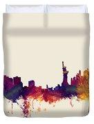 Minneapolis And New York Skylines Mashup Duvet Cover