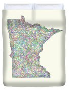 Minnesota Line Art Map Duvet Cover