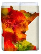 Minnesota State Map 04 Duvet Cover