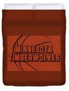 Minnesota Timberwolves Leather Art Duvet Cover