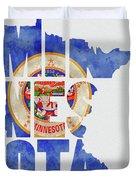Minnesota Typography Map Flag Duvet Cover