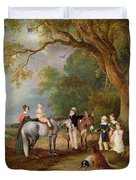 Miss Catherine Herrick With Her Nieces And Nephews Duvet Cover by John E Ferneley