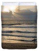 Mission Beach Surfer Duvet Cover