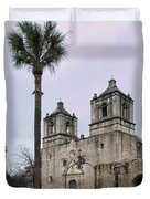 Mission Concepcion With Well And Tree Duvet Cover