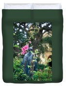 Mission Statue And Flower Duvet Cover