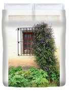 Mission Window With Purple Flowers Vertical Duvet Cover