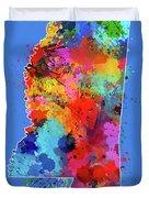Mississippi Map Color Splatter 3 Duvet Cover