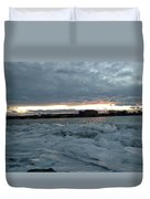 Missouri River Ice Sheet Sunset Duvet Cover