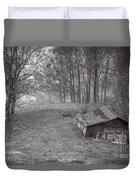 Mist Field And Barn Duvet Cover