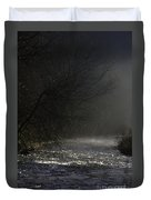 Mist Rising From The River Dove On A Winter's Day Dovedale Peak District Derbyshire England Duvet Cover