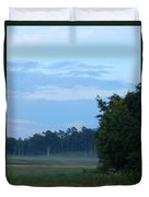 Mist Rolls In And Blue Sky At Sunset Duvet Cover