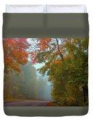 Misty Autumn Road Duvet Cover